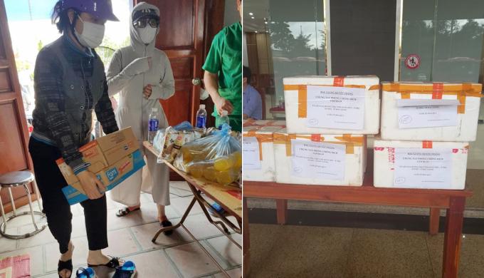 Đi đến đâu, các đoàn y tế được người dân Bắc Giang quan tâm, chăm sóc tới đó, bằng sữa, sinh tố, nước ép, hoa quả, bánh kẹo... Ảnh: Huệ Phương.