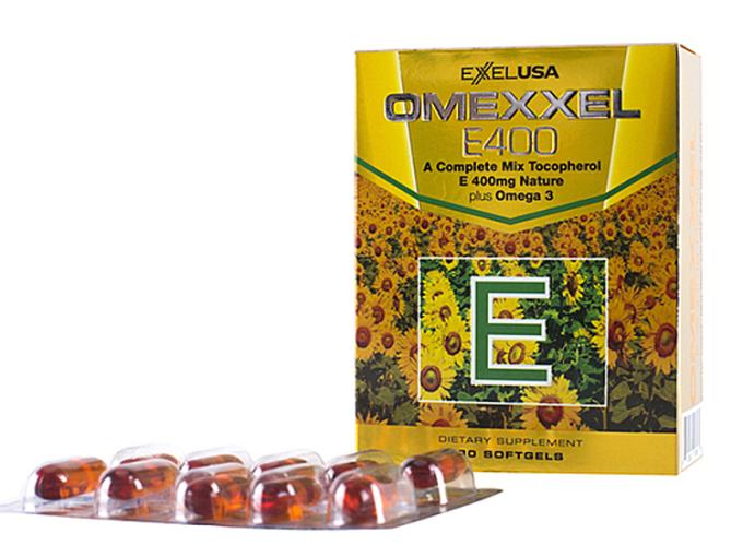 • Viên uống bổ sung Vitamin E Omexxel E400 chứa hỗn hợp vitamin E tự nhiên (Gamma, Delta, Beta và Alpha Tocopherol) và Omega 3 (DHA, EPA), có tác dụng chống oxy hóa, bảo vệ cơ thể khỏi sự tấn công của các gốc tự do. Bổ sung Vitamin E giúp cải thiện nếp nhăn, duy trì vẻ đẹp và ngăn ngừa lão hóa, Giúp tăng cường hệ thống miễn dịch, hỗ trợ phòng ngừa và cải thiện bệnh về tim mạch. Sản phẩm phù hợp với người có làn da sạm nám, nhăn nheo và nhu cầu duy trì làn da mịn màng, căng mịn, phụ nữ từ tuổi 25 khi làn da bắt đầu lão hóa, không dành cho trẻ em dưới 12 tuổi.  Hộp 30 viên đang ưu đãi 16% còn 349.000 đồng, ngoài ra tặng thêm 2 mặt nạ 3W.