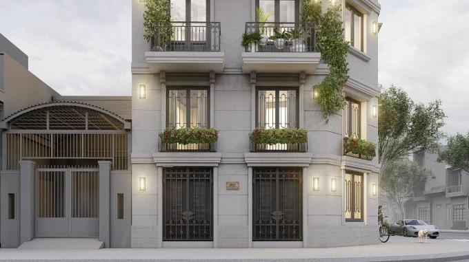 Căn nhà phố có diện tích mỗi sàn chỉ 40 m2 nên các kiến trúc sư của công ty thiết kế Puzzle Studio đã xây 6 tầng và chia không gian mỗi tầng làm một hoặc hai chức năng riêng biệt. Trệt là sảnh đón khách và gara xe.