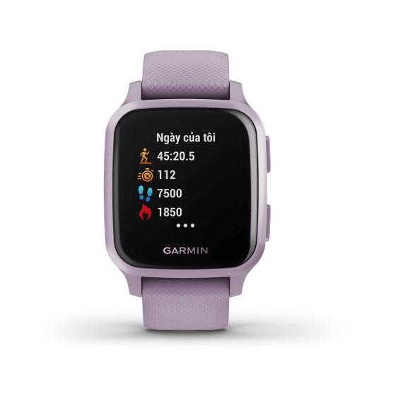 Đồng hồ Garmin Venu Sq màu tím nhạt giá 4,99 triệu đồng; phù hợp với cổ tay có chu vi 125 - 190 mm; màn hình sáng màu, kết hợp phong cách hàng ngày với các tính năng theo dõi sức khỏe, thể chất. Sản phẩm sử dụng lâu hơn chỉ với một lần sạc, thời lượng pin lên đến 6 ngày ở chế độ đồng hồ thông minh và lên đến 14 giờ ở chế độ GPS. Bảo hành 12 tháng.