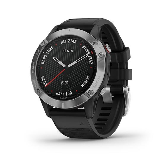 Đồng hồ Garmin Fēnix 6 màu bạc giá 14,99 triệu đồng; các cảm biến đo nhịp tim ở cổ tay; tính năng huấn luyện nâng cao; điều hướng ngoài trời với bản đồ tải sẵn; nhiều hệ thống vệ tinh định vị toàn cầu; hỗ trợ và cảm biến tích hợp cho la bàn ba trục, con quay hồi chuyển, áp kế đo độ cao. Sản phẩm tích hợp kho âm nhạc hỗ trợ phát nhạc cao cấp. Tuổi thọ pin đến 13 ngày tuổi thọ pin trong chế độ đồng hồ đeo tay thông minh, chế độ GPS và âm nhạc tối đa 11 giờ, 42 giờ trong chế độ UltraTrac. Bảo hành 12 tháng.