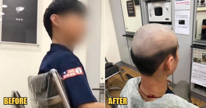 Mái tóc của cậu thiếu niên trước và sau khi bị cắt theo ý mẹ. Ảnh: ET Today.