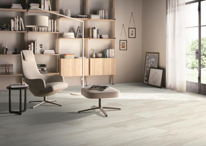 Sàn gạch tạo cảm giác như gỗ thật giúp không gian sang trọng, ấm cúng. Ảnh: Eurotile