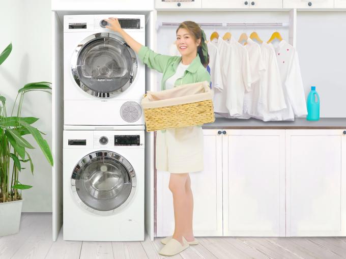 Phiên bản xếp chồng lên nhau của bộ đôi giặt sấy mang đến sự tiện nghi.