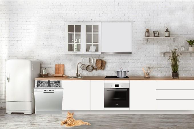Nhà bếp với sắc trắng, đen, các thiết bị bếp Fagor được tin gọn cho người yêu sự tối giản.