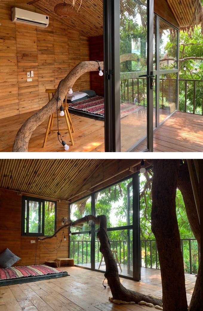 Không gian bên trong căn nhà trên cây. Ảnh: Minh Trang.
