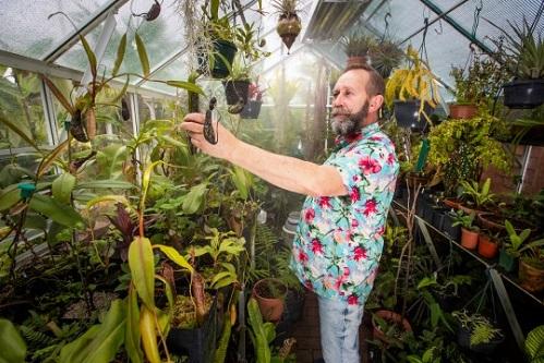 Mike Clifford đào từng cái cây một vào nhà kính khi sắp qua mùa thu, hết mùa đông lại mang ra trồng. Ảnh: BNPS.