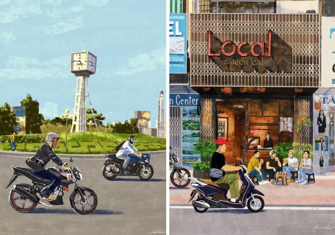 Bức số 82: Chạy xe quanh Vòng xoay Điện Biên Phủ và Bức số 90: Cafe Local Saigon x Quiz Tran.