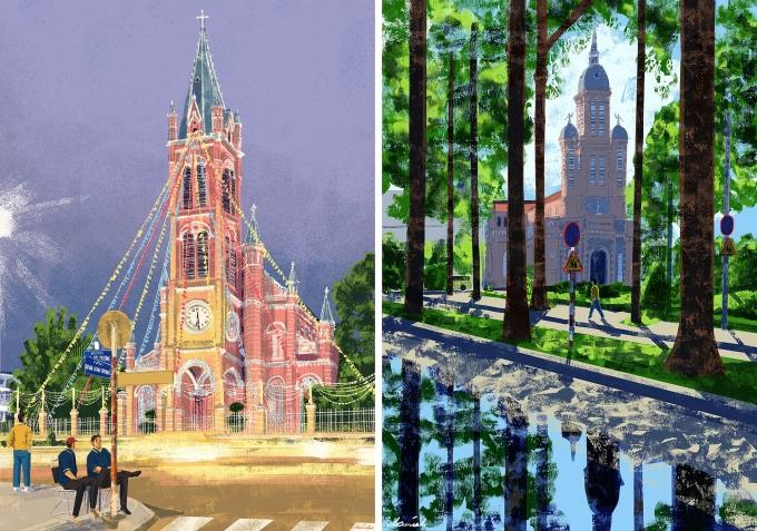 Bức số 2: Nhà thờ Tân Định và Bức số 50: Nhà thờ Thánh Jeanne dArc trong series 100 Góc phố Sài Gòn của Daniel.