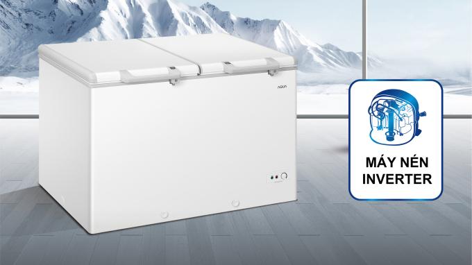 Công nghệ Inverter giúp tủ đông Aqua Việt Nam tiết kiệm năng lượng đáng kể.