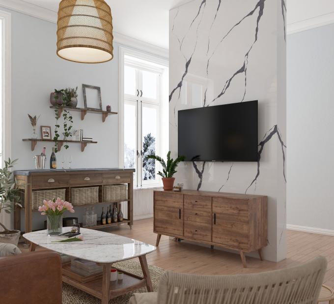 Sản phẩm Vicostone tạo điểm nhấn cho bề mặt bàn, tường, làm đẹp thêm không gian sống.