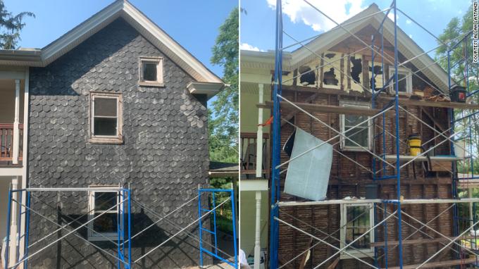 Ngôi nhà trước và sau khi dỡ gạch bắt đàn ong. Ảnh: CNN.