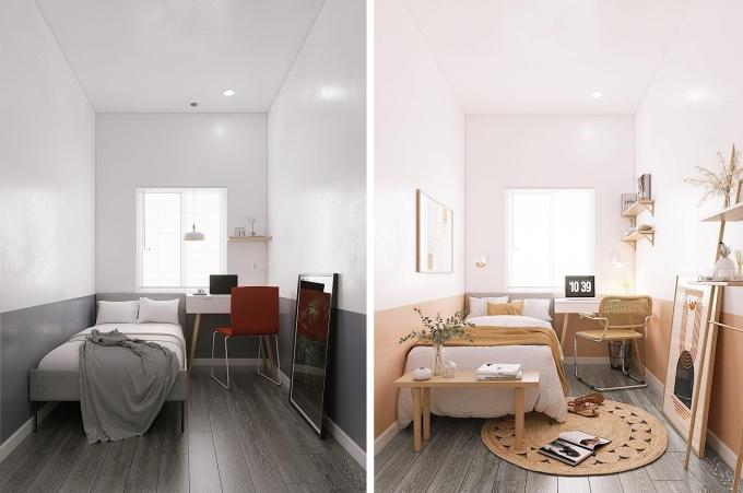 Không gian phòng ngủ thay đổi hẳn nhờ thay màu sơn tường và thêm một số đồ decor. Ảnh: KTS Võ Luân.