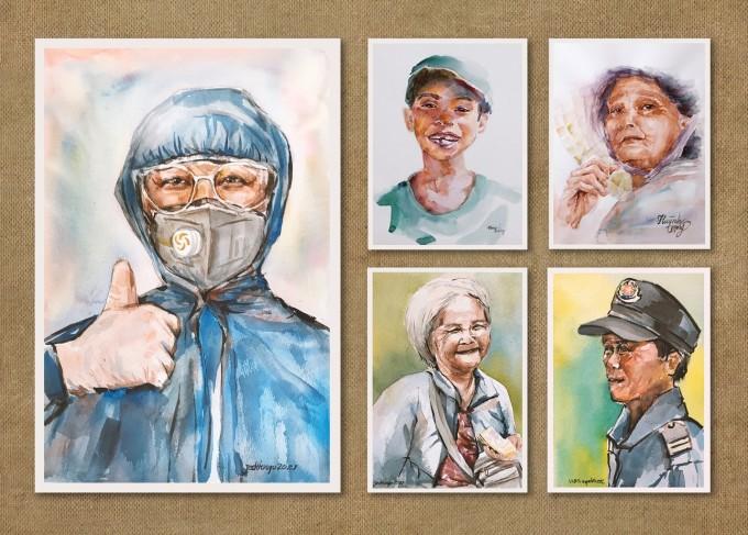 Những chân dung con người với nhiều ngành nghề khác nhau được Huỳnh Trọng khắc họa lại. Tất cả đều mang một ý nghĩa: Rồi nụ cười sẽ sớm quay trở lại. Ảnh: Huỳnh Trọng.