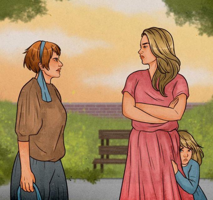 Sự hiện diện của cha mẹ sẽ giúp thay đổi hoàn toàn tính chất của cuộc trò chuyện giữa con và nhân vật kia. Minh họa: Brightside.
