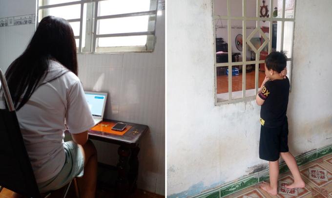 Khánh Như và Đăng Huy đang làm quen cuộc sống mới tại nhà của ông bà ngoại ở ấp Trung Tâm, xã Thanh Bình, huyện Trảng Bom. Ảnh: Nguyễn Hường