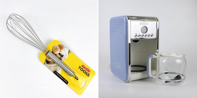 Máy pha cà phê Ariete MOD 1342 công suất 960 W, dung tích 2,1 lít, kích thước 21 x 24 x 35 cm có thể pha từ 4 đến 12 ly cà phê trong một lần pha. Máy có chức năng hẹn giờ trong 24 giờ. Ngăn chứa bộ lọc có thể tháo rời và vệ sinh dễ dàng. Hệ thống chống nhỏ giọt cho phép ngừng pha chế khi cốc được chiết xuất.� Dụng cụ đánh trứng Maxim làm bằng chất liệu thép không gỉ có chức năng đánh trứng, đánh bột bằng tay, đánh cà phê. Combo hai sản phẩm đang được ưu đãi 10% còn 1,98 triệu đồng.